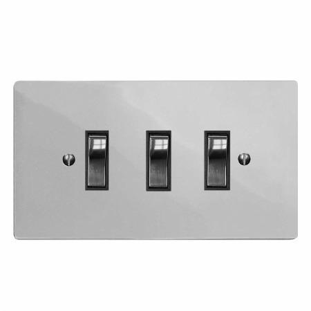 Victorian Rocker Light Switch 3 Gang Polished Chrome & Black Trim