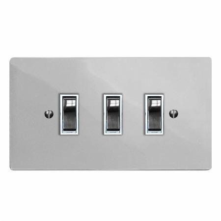 Victorian Rocker Light Switch 3 Gang Polished Chrome & White Trim