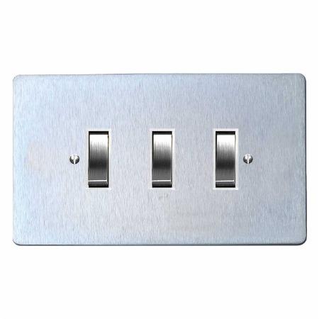 Victorian Rocker Light Switch 3 Gang Satin Chrome & White Trim