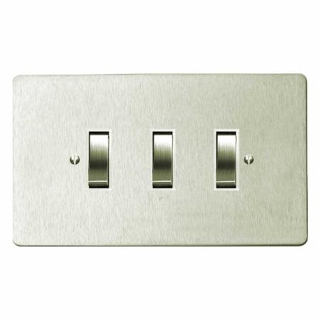 Victorian Rocker Light Switch 3 Gang Satin Nickel