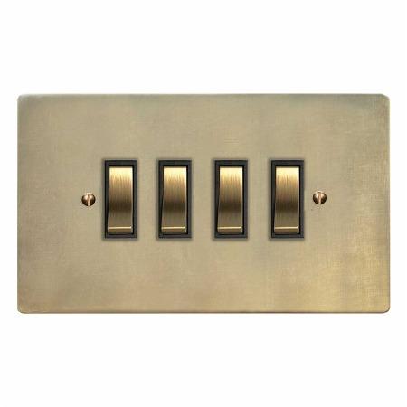 Victorian Rocker Light Switch 4 Gang Antique Satin Brass