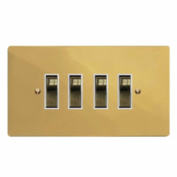 Victorian Rocker Light Switch 4 Gang Polished Brass Lacquered & White Trim