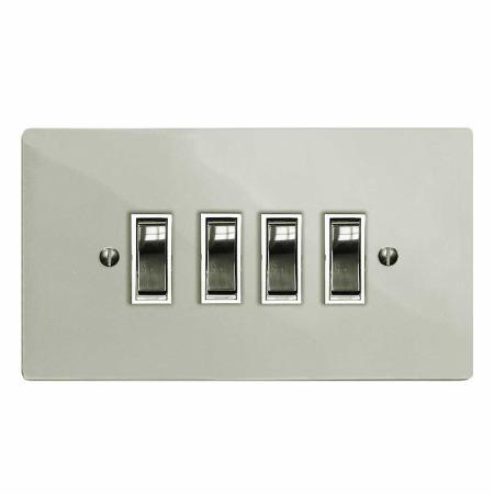 Victorian Rocker Light Switch 4 Gang Polished Nickel