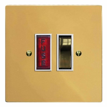 Victorian Switched Fused Spur Illuminated Polished Brass Lacquered & White Trim