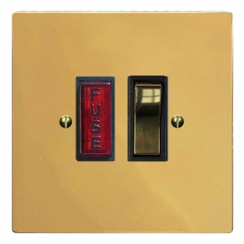 Victorian Switched Fused Spur Illuminated Polished Brass Lacquered & Black Trim