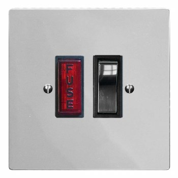 Victorian Switched Fused Spur Illuminated Polished Chrome & Black Trim