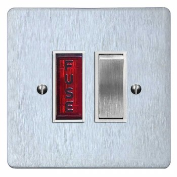 Victorian Switched Fused Spur Illuminated Satin Chrome & White Trim