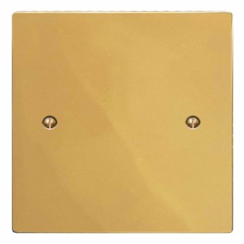 Victorian Single Blank Plate Polished Brass Lacquered