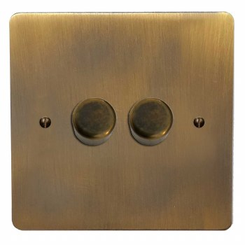 Victorian Dimmer Switch 2 Gang Antique Brass Lacquered