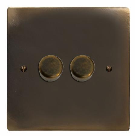 Victorian Dimmer Switch 2 Gang Dark Antique Relief