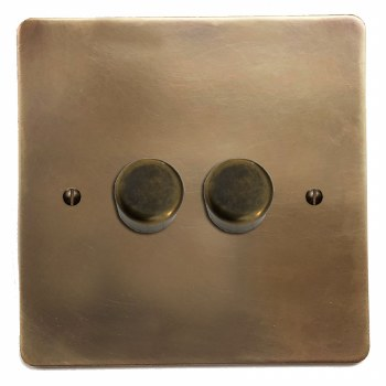 Victorian Dimmer Switch 2 Gang Hand Aged Brass