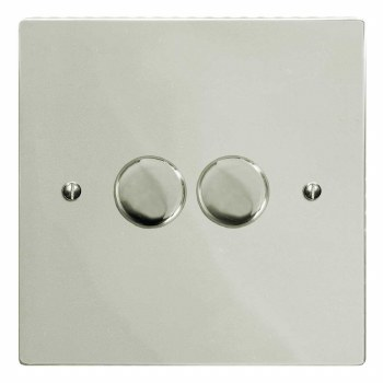 Victorian Dimmer Switch 2 Gang Polished Nickel