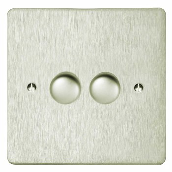 Victorian Dimmer Switch 2 Gang Satin Nickel