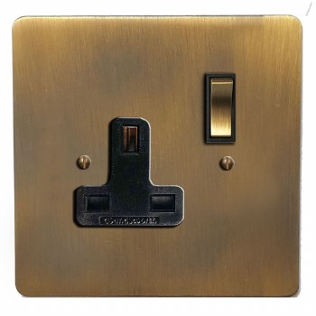 Victorian Switched Socket 1 Gang Antique Brass Lacquered