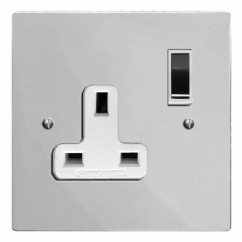 Victorian Switched Socket 1 Gang Polished Chrome & White Trim
