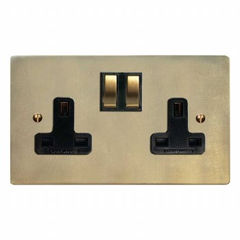 Victorian Switched Socket 2 Gang Antique Satin Brass