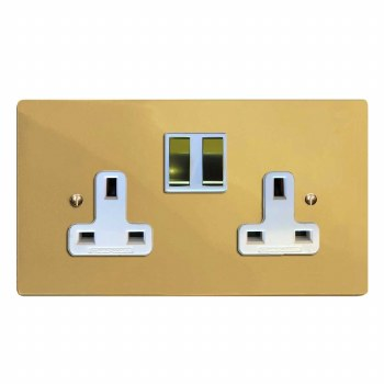 Victorian Switched Socket 2 Gang Polished Brass Lacquered & White Trim