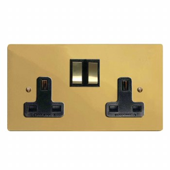 Victorian Switched Socket 2 Gang Polished Brass Unlacquered