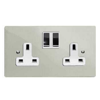 Victorian Switched Socket 2 Gang Polished Nickel