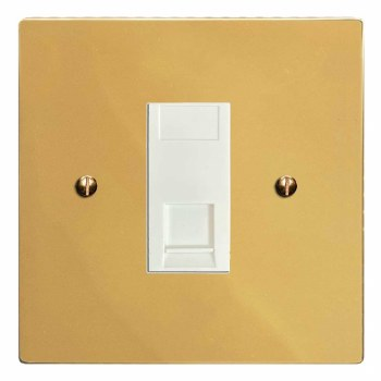 Victorian Telephone Socket Secondary Polished Brass Lacquered & White Trim