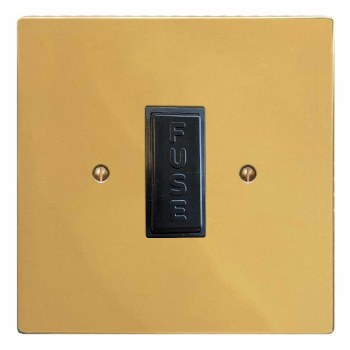 Victorian Fused Spur Connection Unit 13 Amp Polished Brass Lacquered & Black Trim