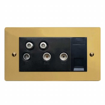Victorian Sky+ Socket Polished Brass Unlacquered