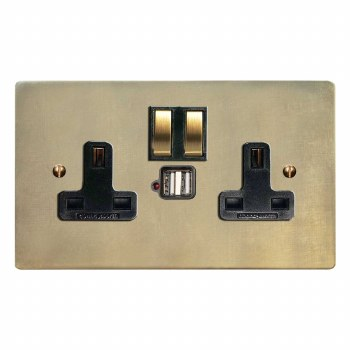Victorian Switched Socket 2 Gang USB Antique Satin Brass