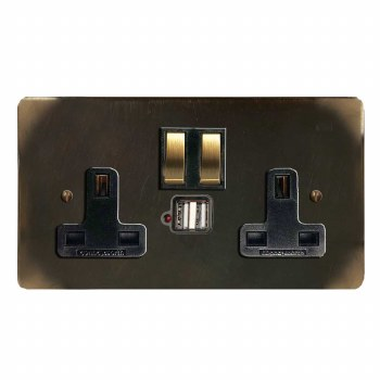Victorian Switched Socket 2 Gang USB Dark Antique Relief