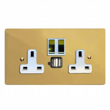 Victorian Switched Socket 2 Gang USB Polished Brass Lacquered & White Trim