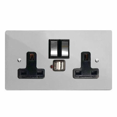 Victorian Switched Socket 2 Gang USB Polished Chrome & Black Trim