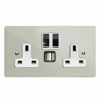 Victorian Switched Socket 2 Gang USB Polished Nickel