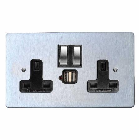 Victorian Switched Socket 2 Gang USB Satin Chrome & Black Trim