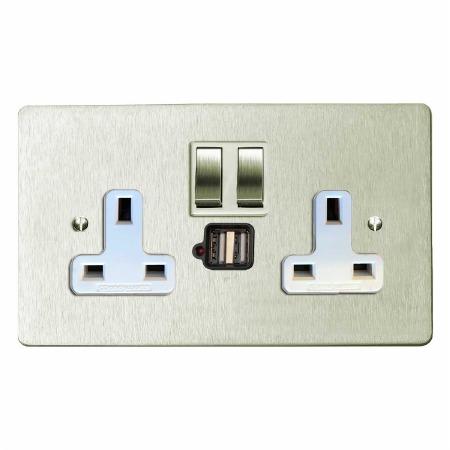 Victorian Switched Socket 2 Gang USB Satin Nickel