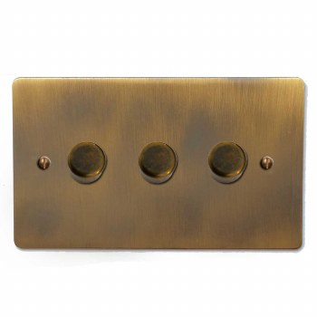 Victorian Dimmer Switch 3 Gang Antique Brass Lacquered
