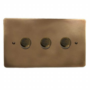 Victorian Dimmer Switch 3 Gang Hand Aged Brass
