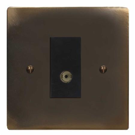 Victorian TV Socket Outlet Dark Antique Relief
