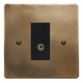 Victorian TV Socket Outlet Hand Aged Brass