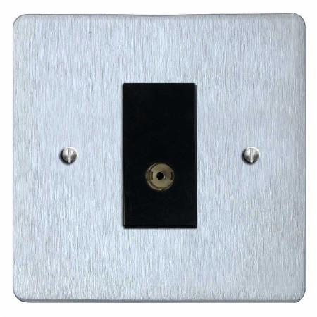 Victorian TV Socket Outlet Satin Chrome & Black Trim