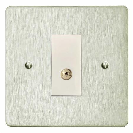 Victorian TV Socket Outlet Satin Nickel