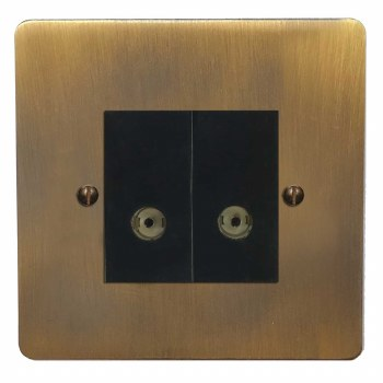 Victorian TV Socket Outlet 2 Gang Antique Brass Lacquered