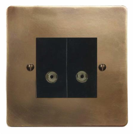 Victorian TV Socket Outlet 2 Gang Hand Aged Brass
