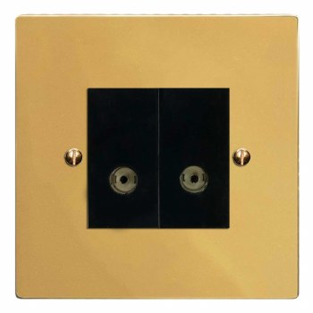 Victorian TV Socket Outlet 2 Gang Polished Brass Lacquered & Black Trim