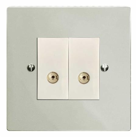 Victorian TV Socket Outlet 2 Gang Polished Nickel