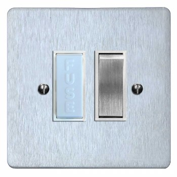 Victorian Switched Fused Spur Satin Chrome & White Trim