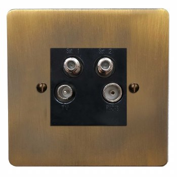 Victorian Quadplex TV Socket Antique Brass Lacquered