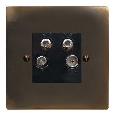 Victorian Quadplex TV Socket Dark Antique Relief