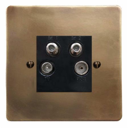 Victorian Quadplex TV Socket Hand Aged Brass