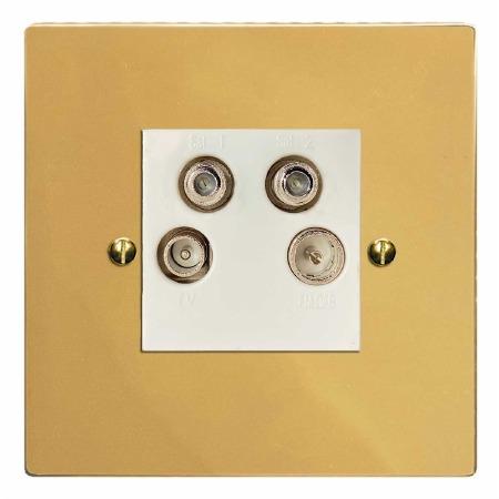 Victorian Quadplex TV Socket Polished Brass Lacquered & White Trim
