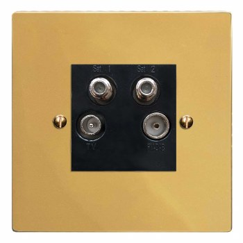 Victorian Quadplex TV Socket Polished Brass Lacquered & Black Trim
