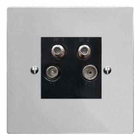 Victorian Quadplex TV Socket Polished Chrome & Black Trim